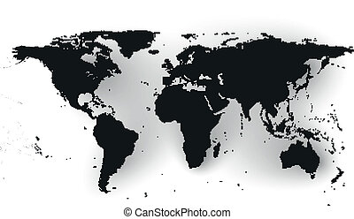 Black Political World Map Vector