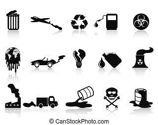 black pollution icons set