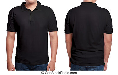 Black polo t-shirt mock up, front and back view, isolated. Male model wear plain black shirt mockup. Polo shirt design template. Blank tees for print