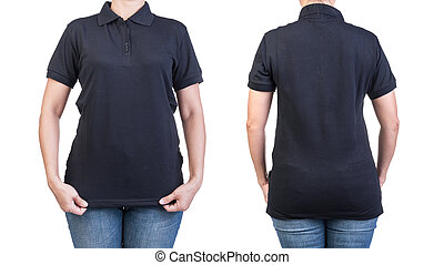 polo shirt - Black polo shirt with on a women on a white...