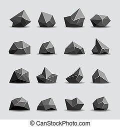 Black polygon stone and poly rocks