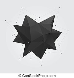 Black polygonal geometric abstract shape figure. Low poly abstract geometry shape 3d star.