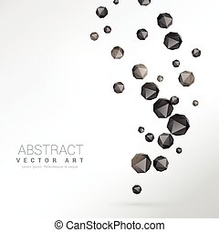 black polyhedron particles background