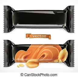 Black polymer packaging for foods. Chocolate bar, 3d realistic vector icon