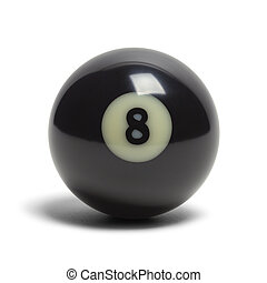 Eight Ball - Black Pool Eight Ball Isolated on White...