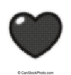 Black pop art heart shape icon.