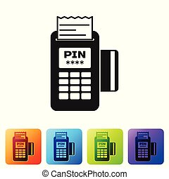 Black POS terminal with inserted credit card and printed reciept icon isolated on white background. NFC payment concept. Set icon in color square buttons. Vector Illustration