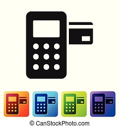 Black Pos terminal with inserted credit card icon isolated on white background. Payment terminal transaction. Set icon in color square buttons. Vector Illustration