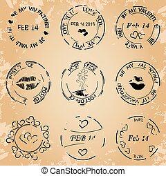 black post stamps for valentine day - grunge vector