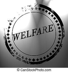 welfare - black postal stamp with welfare written on it