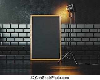 Black poster and lamp. 3d rendering