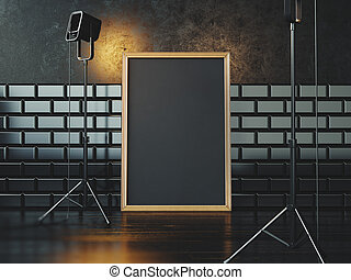 Black poster on the floor and two lamps. 3d rendering