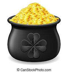 Pot full of gold coin