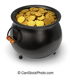 Black pot full of gold coins - Pot full of gold coins...