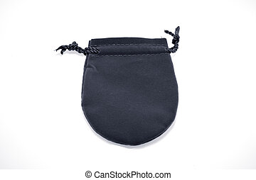 black pouch to hold Jewelry and delicate items isolated on...