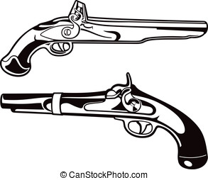 Black Powder Pistols - These are vector graphics of two...