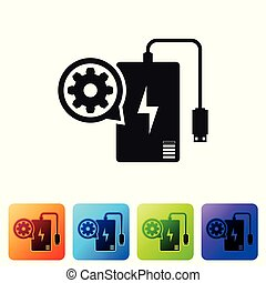 Black Power bank with charge cable and gear icon on white background. Adjusting app, service concept, setting options, maintenance, repair. Set icon in color square buttons. Vector Illustration