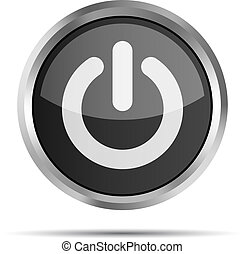 black power button icon on a white