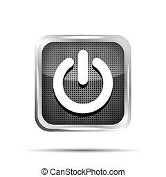 black power button icon on a white background