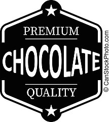 black premium quality chocolate vintage rubber stamp web icon on white background