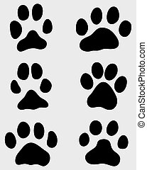 paw of cats - Black print of paw of cats, vector ...