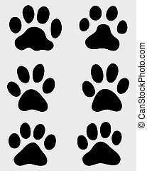 paws of cats - Black print of paws of cats, vector...