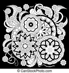 black print with white mandalas and flowers