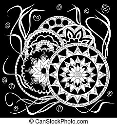 black print with white mandalas and herb