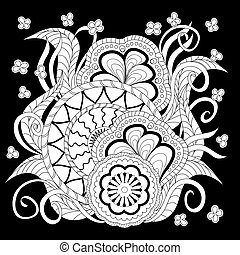 black print with white mandalas, leaves and flowers