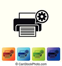Black Printer and gear icon isolated on white background. Adjusting app, service concept, setting options, maintenance, repair, fixing. Set icon in color square buttons. Vector Illustration