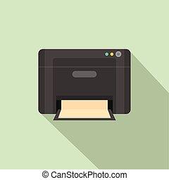 Black printer icon, flat style