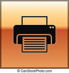 Black Printer icon isolated on gold background. Vector Illustration