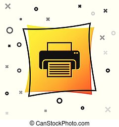 Black Printer icon isolated on white background. Yellow square button. Vector Illustration