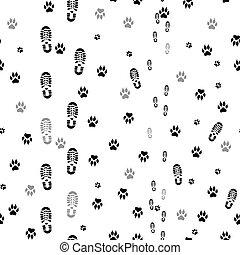 Black prints of human feet and dog paws seamless.
