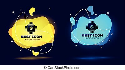 Black Processor chip with dollar icon isolated. CPU and a dollar sign. Set of liquid color abstract geometric shapes. Vector Illustration