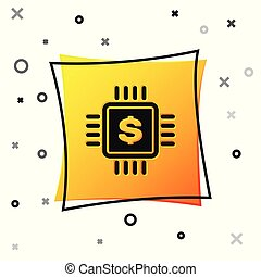 Black Processor chip with dollar icon isolated on white background. CPU and a dollar sign. Yellow square button. Vector Illustration