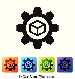 Black Product development icon isolated on white background. Gear and cube. Product development symbol design from Startup collection. Set icon in color square buttons. Vector Illustration