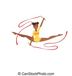 Black Professional Rhythmic Gymnastics Sportswoman In Yellow...