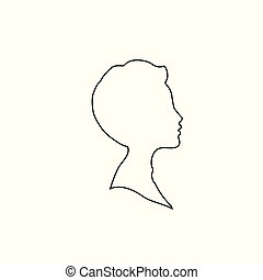 Black profile outline silhouette of boy or man face profile on white background