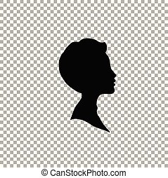 Black profile silhouette of boy or man head, face profile on transparent background.