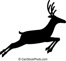 Black profile silhouette of running reindeer  isolated on white background.