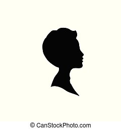 Black profile silhouette of young boy or man head, face profile, vignette.