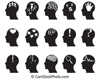 black profiles with idea symbols
