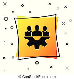 Black Project team base icon isolated on white background. Business analysis and planning, consulting, team work, project management. Developers. Yellow square button. Vector Illustration