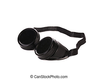 Black protective glasses. Isolated on a white background.