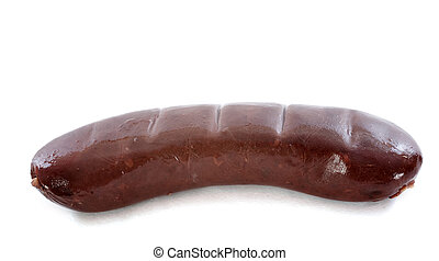 black pudding sausage on a white background
