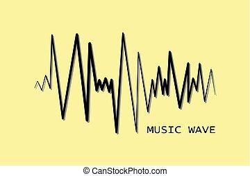 Black pulse music player. Audio wave logo.
