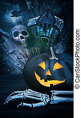 Black pumpkin with skeleton hand