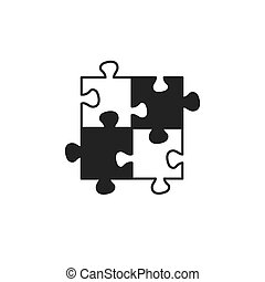 black puzzle flat vector icon
