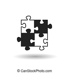 black puzzle flat vector icon with shadow